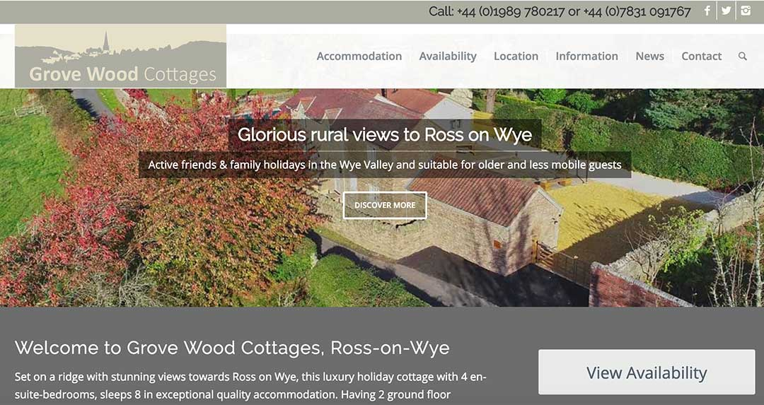 New Website For Grove Wood Cottages In Ross On Wye