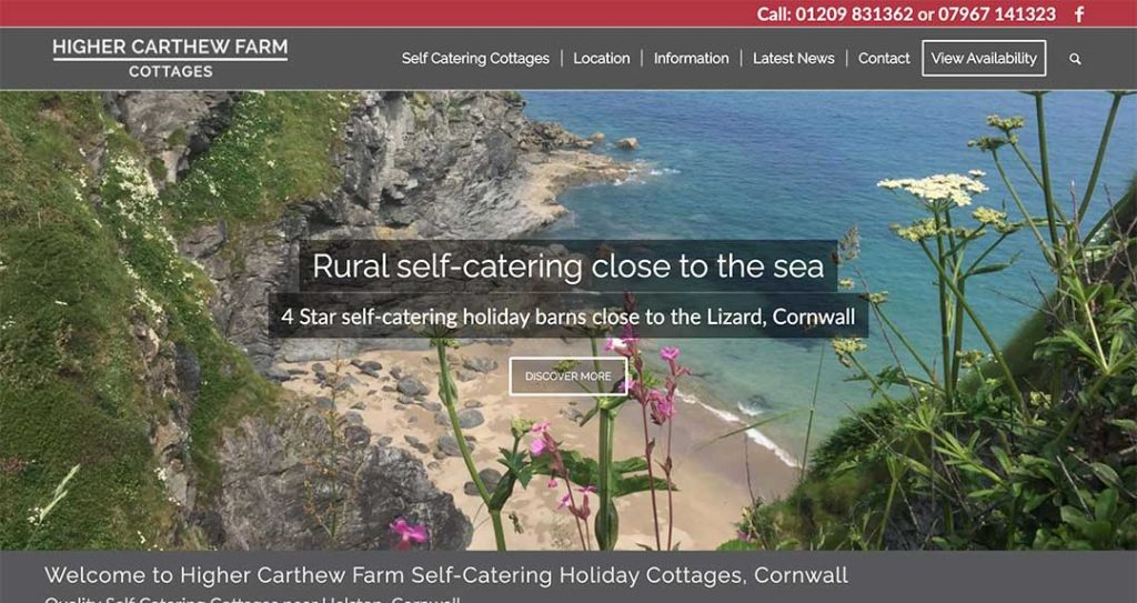 Higher Carthew Farm Cottages Website by XLR8 Marketing