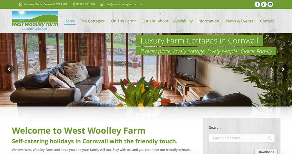 West Woolley Farm Website by XLR8 Marketing